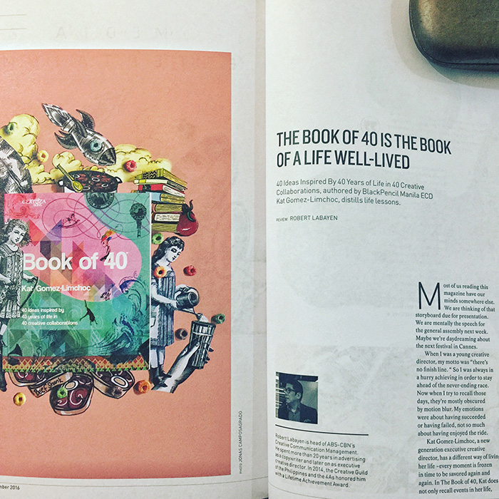 Book of 40 beautifully reviewed in Adobo Magazine